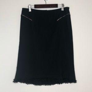 REBECCA TAYLOR. Black wool pencil skirt.